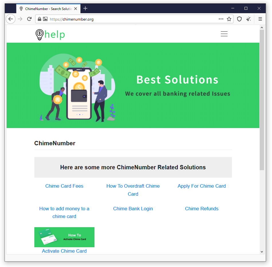 Fraudulent Chime Site